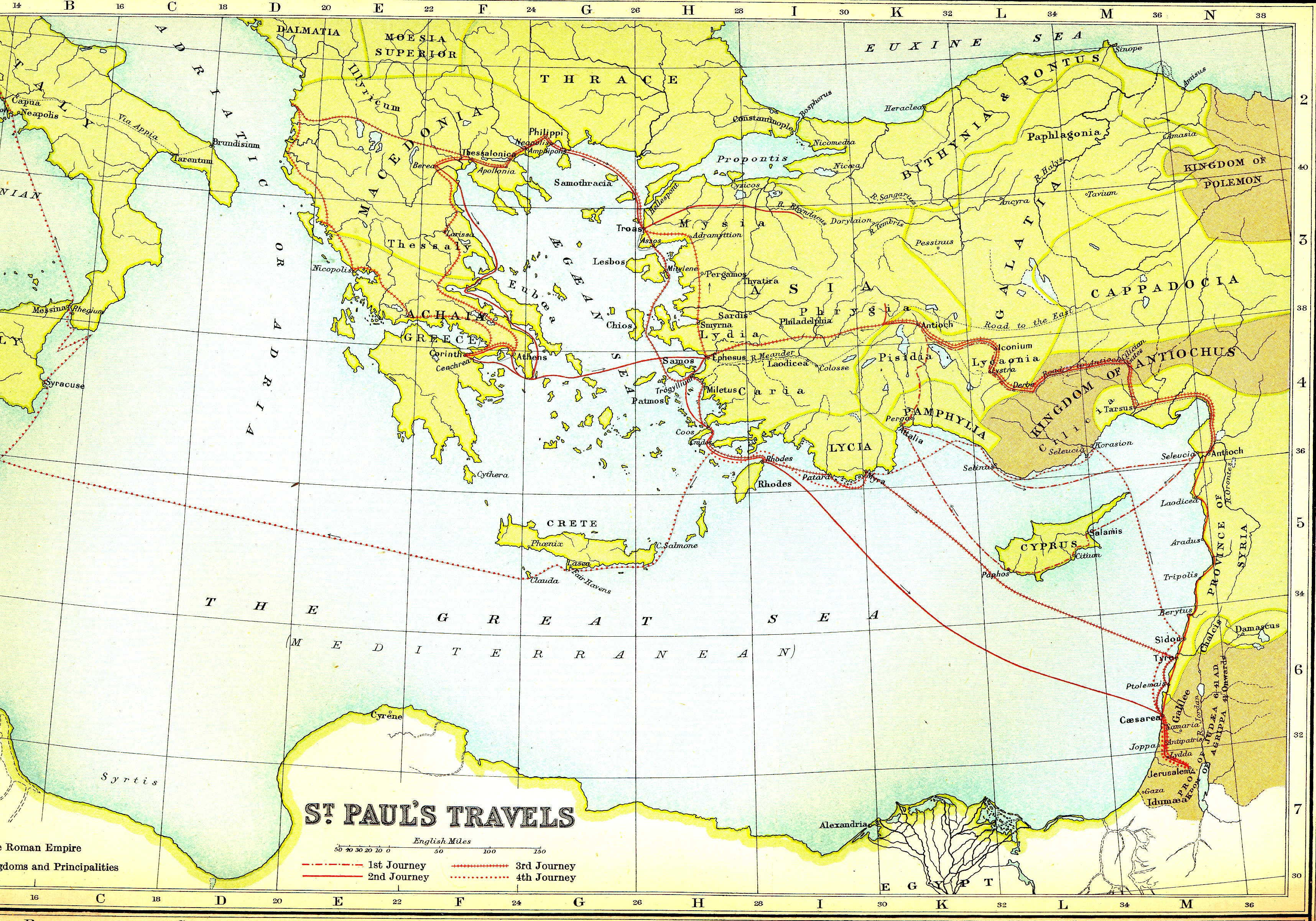 Biblical Maps – Map Of Pauls Travels